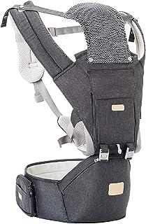 抱っこ紐 ヒップシート YIYUNBEBE 抱っこひも ベビーキャリア 多機能 だっこひも おんぶ紐 新生児 赤ちゃん 軽量 ウエストキャリー分離可 ポータブル着脱式シート 収納ポケット付き 腰部ベンチストラップ ベビー用品