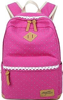 Fashion Mädchen Schulrucksack Damen Canvas Rucksack Teenager Baumwollstoff Schultasche Outdoor Freizeit Daypacks mit Schic...