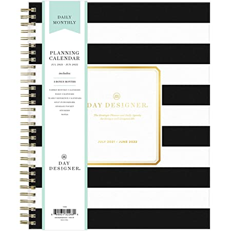 """Day Designer for Blue Sky 2021-2022 Academic Year Daily & Monthly Planner, 8"""" x 10"""", Frosted Flexible Cover, Wirebound, Rugby Black Stripe (132268)"""