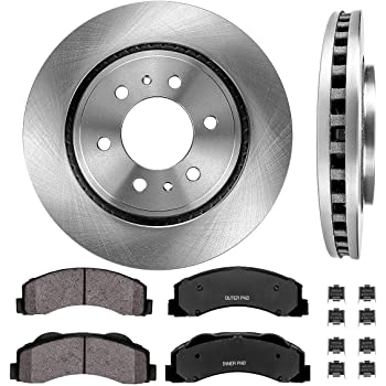Rear Rotors w//Ceramic Pads OE Brakes 2010 2011 Ford F150 7 Lugs Front