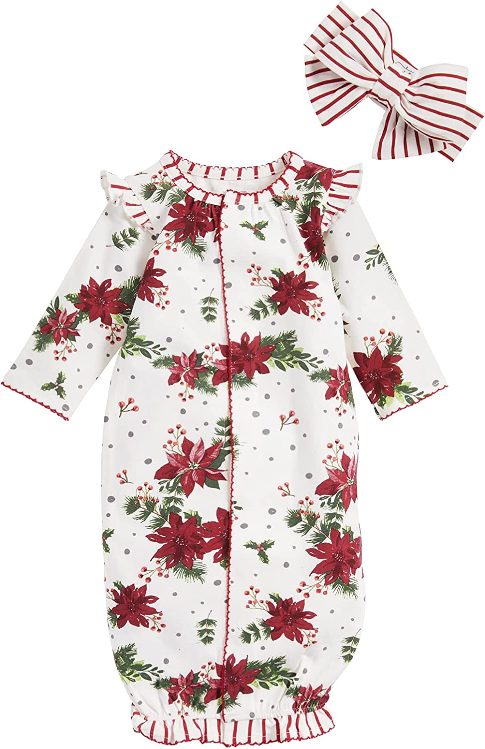 Mud Pie Baby Girls' Poinsettia Gown and Headband Set, Red, 0-3 Months