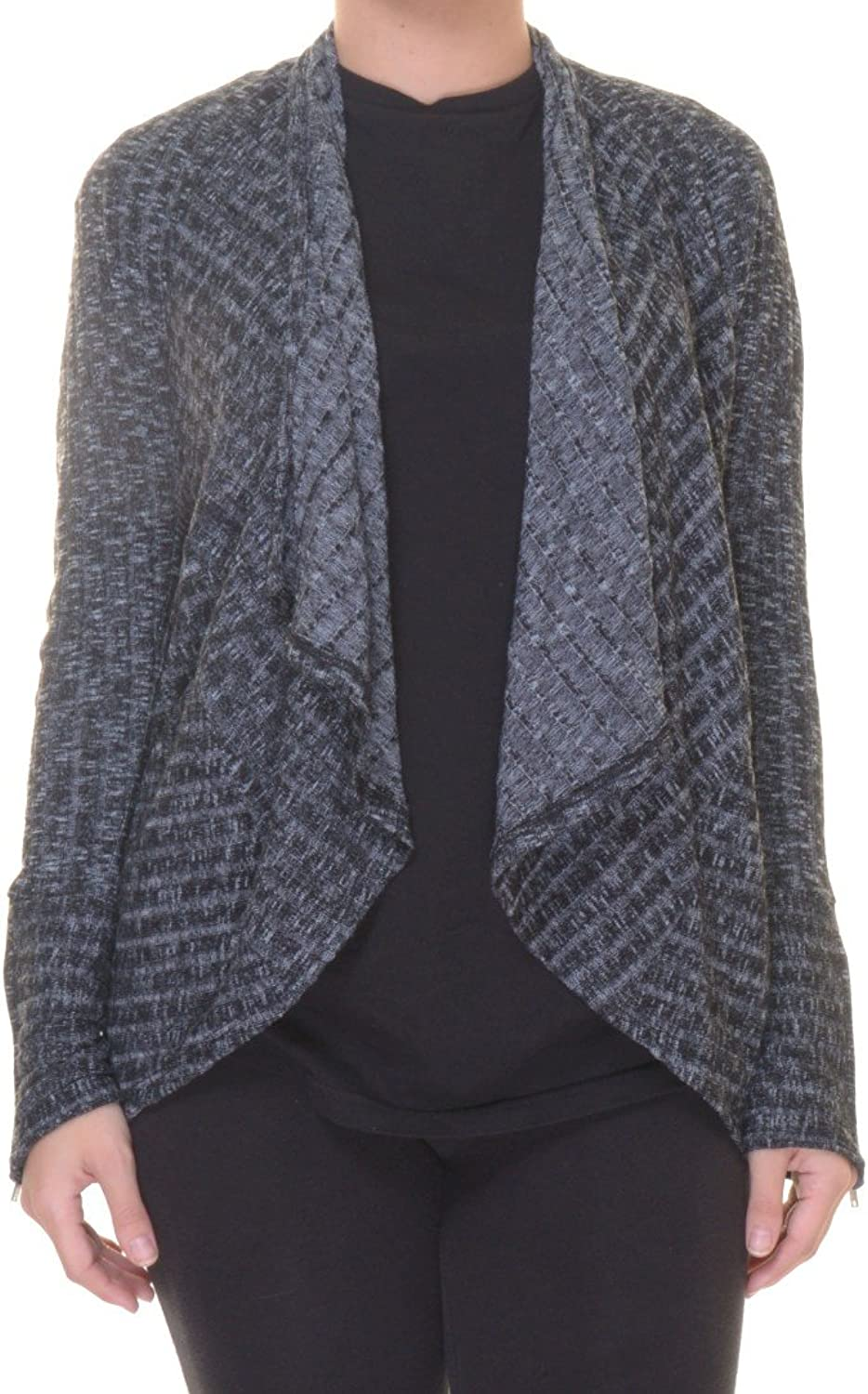 Bar III Women's MarledKnit Flyaway Cardigan (Black, Large)