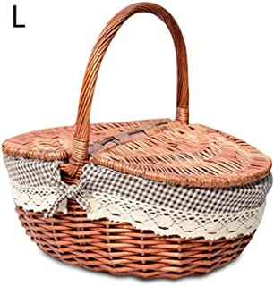 S/L Size Picnic Basket Hand Made Wicker Bags Camping Picnicbasket Shopping Storage Picnic Food Basket Woven Fruit Storage Basket, L1