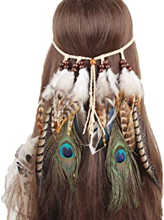 Boomly Tocado Boho Hippie Tribal Diadema De Plumas India Gitano indio bohemio Pluma Hairband Bohemian Beads Feather Access...