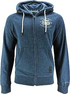CrossHatch Men's Sweat Jacket Racing Zip Thru Hood Print Hoodie Sweatshirt