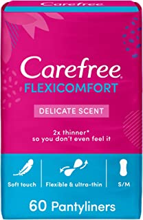 CAREFREE Daily Panty Liners, FlexiComfort, Delicate Scent, Pack of 60