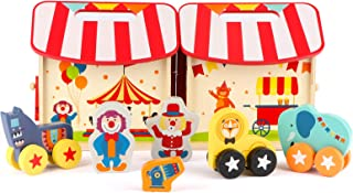Steventoys Circus Wooden Dollhouse Furniture with 7 Pcs Accessories Pretend Play Learning Educational Montessori Toys for Toddlers Kids Boys Girls Ages 3-6 Years