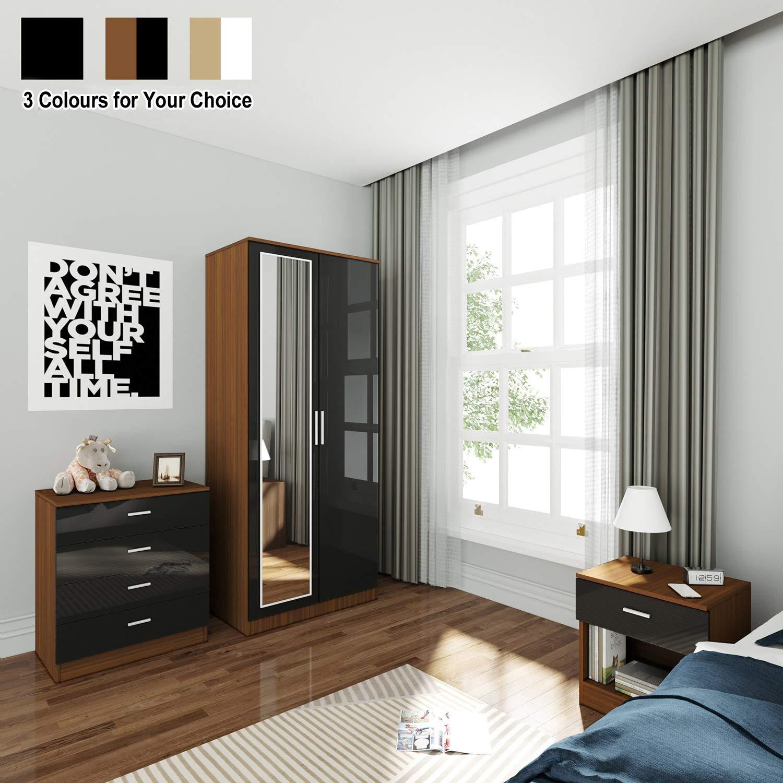 Elegant 3 Piece Bedroom Furniture Sets High Gloss Soft Close Wardrobe Mirrored 4 Storage Drawer Chest Of Drawers Bedside Cabinet Black Walnut Wardrobe And Chest Of Drawers Set Buy Online In