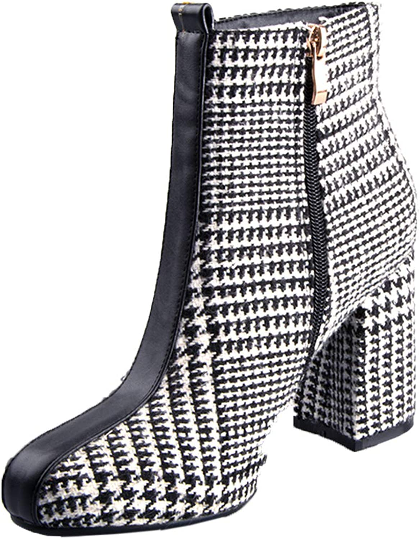 Vitalo Womens Chunky High Heel Zip Up Ankle Boots Autumn Winter Booties