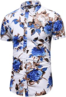 LEFTGU Men's Slim fit Floral Printed Long-Sleeve Button-Down Dress Shirt
