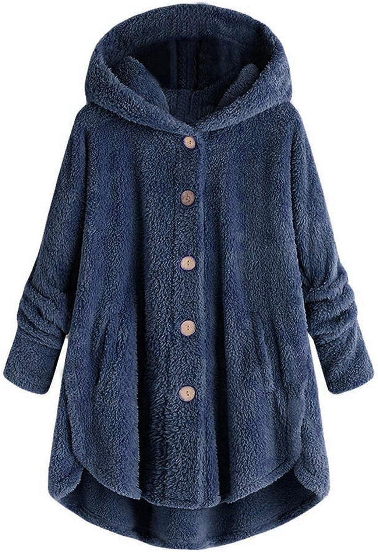 VEKDONE Women Plus Size Sherpa Sweatshirt Pullover Fuzzy Fleece Winter Warm Fluffy Hooded Jackets Coat Outwear
