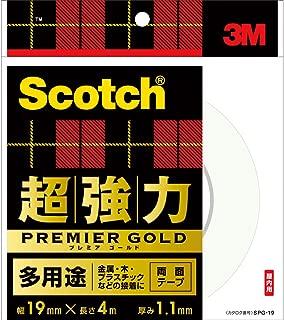 3M スコッチ 超強力両面テープ プレミアゴールド 多用途 19mm×4m SPG-19