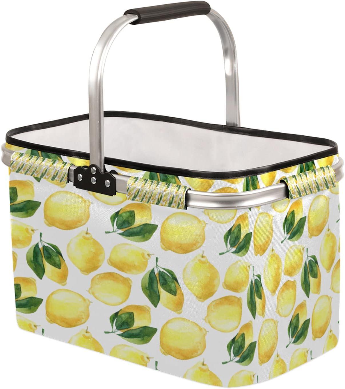 TropicalLife Lemon New Shipping Free Pattern Collapsible Leav Max 79% OFF Basket Market