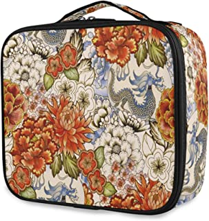 ALAZA Makeup Case Vintage Asian Traditional Japanese Flowers Peonies Cosmetic Bag Organizer Travel Portable Storage Toiletry Bag Makeup Train Case with Adjustable Dividers for Teens Girls Women