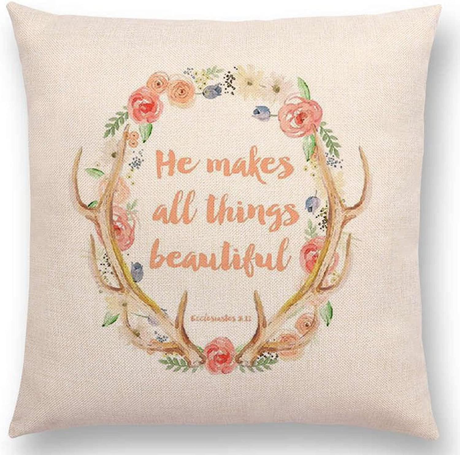 Aremazing Inspirational Quotes with Beautiful Flowers Cotton Linen Home Decor Pillowcase Throw Pillow Cushion Cover 18 x 18 Inches (He Make All Things Beautiful)