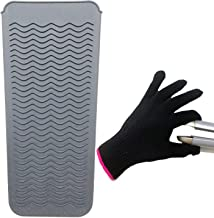 Heat Resistant Mat Pouch and Heat Resistant Glove for Curling Irons, Hair Straightener, Flat Irons and Hair Styling Tools 11.5