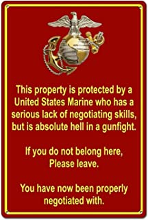 Not Applicable Property Protected by Marine Marine Corps Metal Wall Signs Iron Painting Tin Warning Sign Poster Sheet Plaque Art Decoration for Bar Hotel Office Dorm Garage