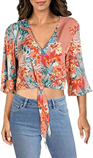 Womens Woven Floral Print Crop Top