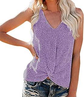 Shusuen Womens Summer V Neck Sleeveless Sweater Twist Knot Casual Loose Knit Tank Tops