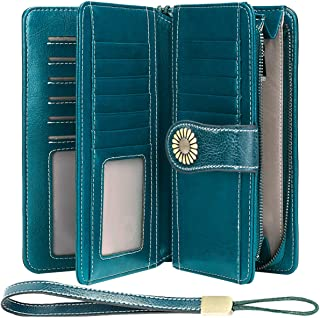 Cartera Cuero Mujer Bloqueo RFID Monedero Piel Mujer Grande con Muchos Bolsillos, Billetera Larga Mujer con Cremallera 26 ...
