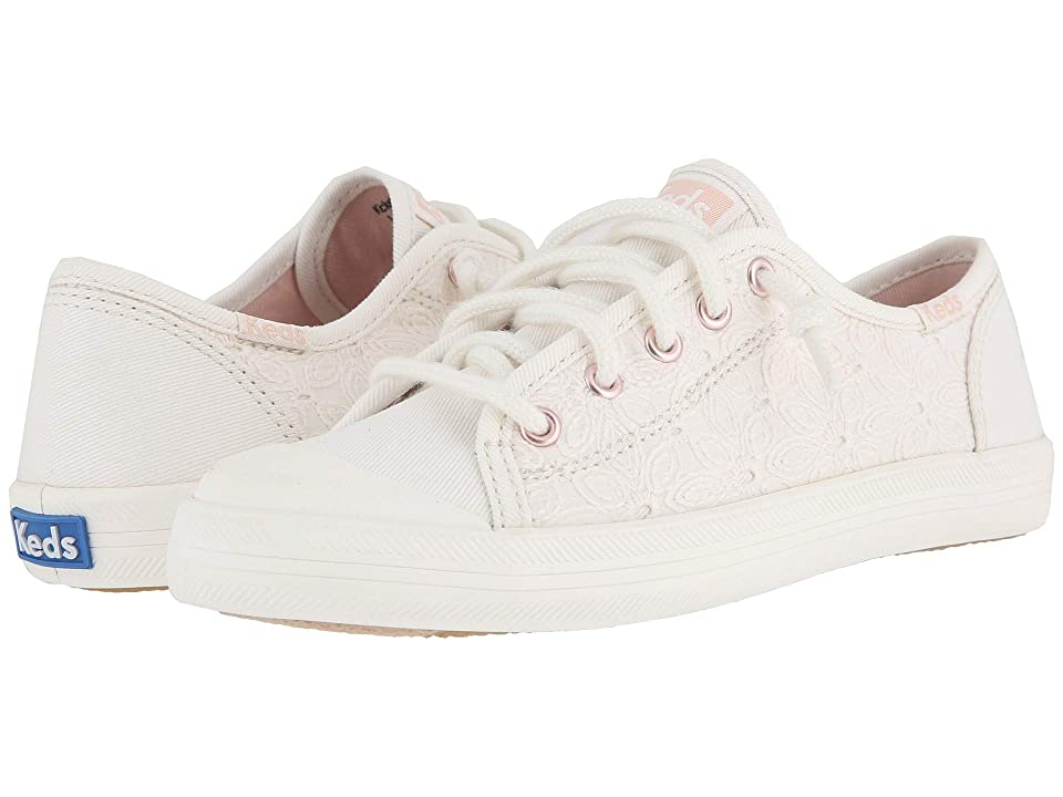 Keds Kids Kickstart Seasonal Toe Cap (Little Kid/Big Kid) (White Eyelet) Girls Shoes