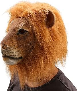 Ylovetoys Head Mask Lion Mask Novelty Halloween Christmas Easter Costume Party Masks Funny Latex Animal Head Mask (Lion)