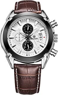 Brown MEGIR Men Relogio Masculino Chronograph Watch Genuine Leather