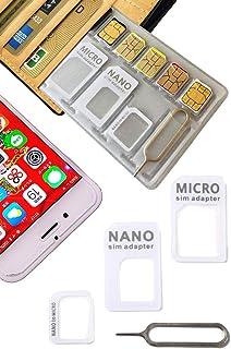 【 紛失防止 クレカより薄い SIM カード ケース ホルダー 日本製 】スキマに入る 変換 アダプタ イジェクトピン 4点セット SilverCoral (ホワイト (収納量 NanoSIM5枚 & MicroSD1枚))