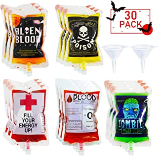 POKONBOY 30 Pack Halloween Novelty Blood Bags Drink Container with 2 Funnels for Halloween Party Decorations, Reusable Food Grade 6 Patterns 8.5OZ Bags Halloween Party Cups for Theme Parties, Zombie, Vampire Party Favors