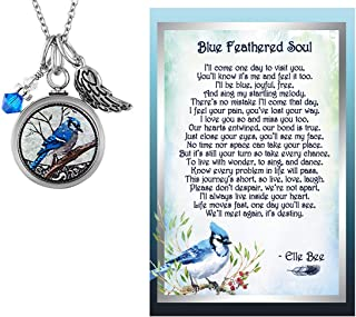 Lola Bella Gifts and Spirit Lala Blue Jay Cremation Urn Pendant Necklace with Blue Feathered Soul Poem Card Gift Box Grief Memorial