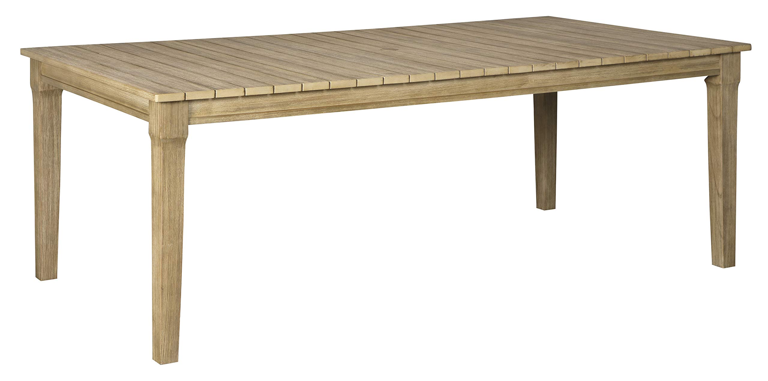 Ashley Furniture Signature Design - Clare View Outdoor Dining Table - Eucalyptus Wood - Seats 6 Beige