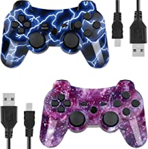 Controllers for PS3 Playstation 3 Dual Shock, Wireless Bluetooth Remote Joystick Gamepad for Six-axis with Charging Cable (Pack of 2, BlueFlash and StarrySky)