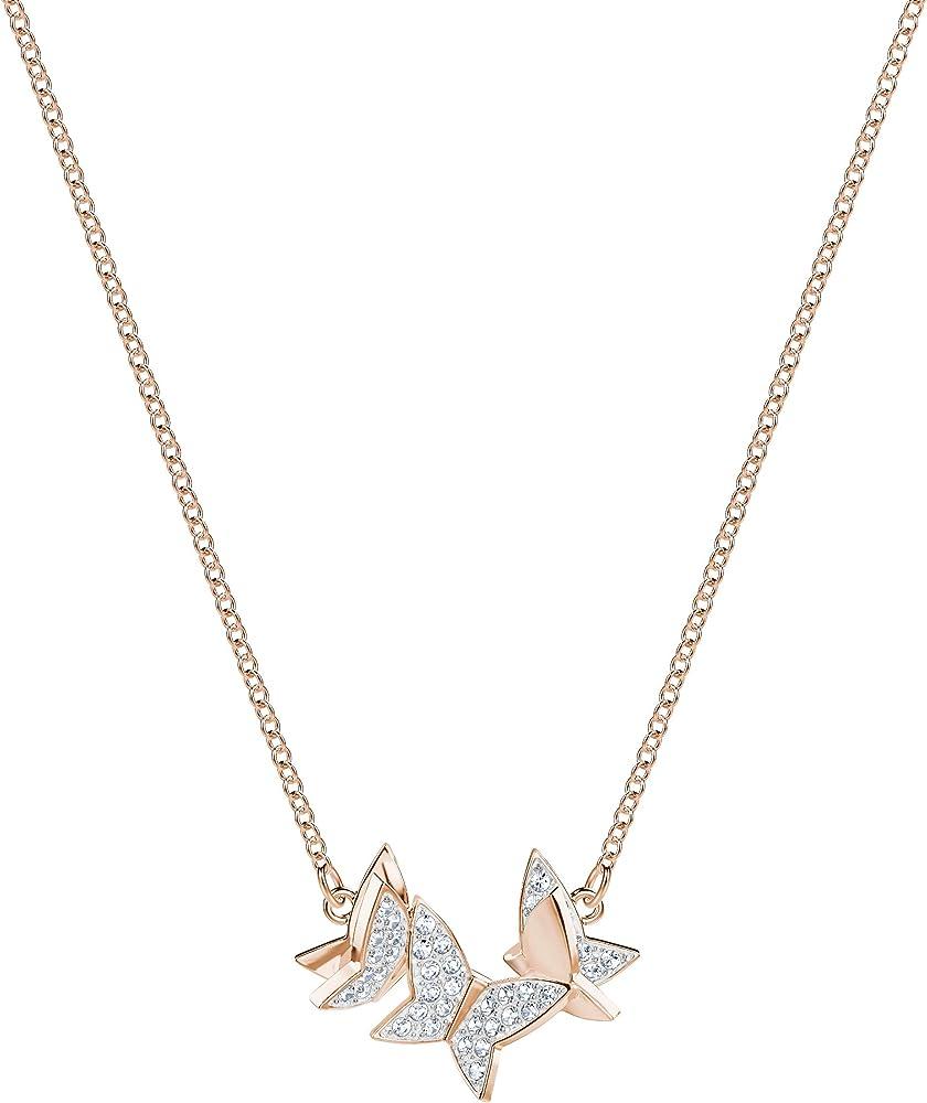 Swarovski collana per donna con pendente lilia, cristallo placcata nella tonalità oro rosa 5382366