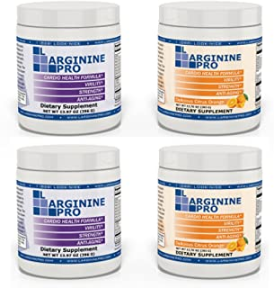 L-arginine Pro, 1 Now L-arginine Supplement - 5,500mg of L-arginine Plus 1,100mg L-Citrulline + Vitamins & Minerals for Cardio Health, Blood Pressure, Cholesterol, Energy (Berry & Orange, 4 Jars)
