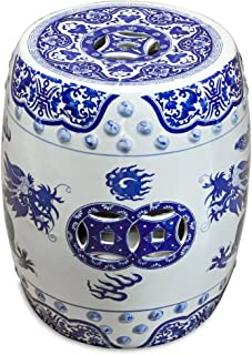 ChinaFurnitureOnline Porcelain Garden Stool, Blue and White Imperial Dragon Design
