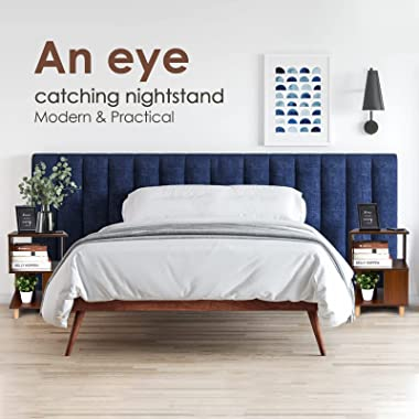 Modern Nightstand Set with Storage - 2 Pack Bedside Table, Sturdy and Durable, Solid Wood Legs, Plenty of Storage and Water-R