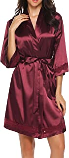 Women's Lace-Trim Kimono Style Short Satin Robe Sleepwear with 3/4 Sleeve