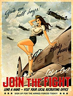 WWII Recruitment Poster : Give 'em Hell Boys - PINUP : Fine Giclee