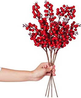 Lvydec 4 Pack Artificial Red Berry Stems - 19.5 Inch Christmas Holly Berry Branches for Holiday Home Decor and Crafts