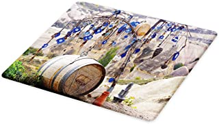 Ambesonne Evil Eye Cutting Board, Picturesque Landscape with Evil Eyes on a Tree Cappadocia Turkey Anatolian Culture, Decorative Tempered Glass Cutting and Serving Board, Large Size, Multicolor