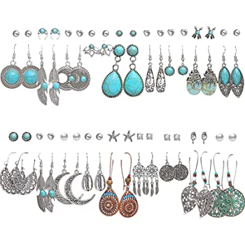 36 Pairs Fashion Vintage Simulated Turquoise Drop Dangle Earrings Set for Women Girls Boho Hollow Waterdrop Leave Feather Silver Jewelry for Christmas Gifts