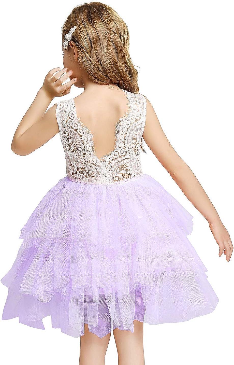 YOFEEL Toddler Flower Girls Summer Dress Short Sleeve Tutu Dresses, Knee-Length