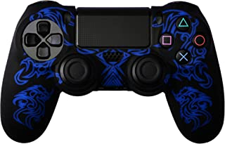 Gam3Gear Dragon Pattern Silicon Protect Case Skin Jacket for PS4 Dualshock 4 Controller Black Blue