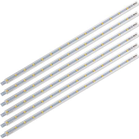 SEBSON® 6x LED Lampe sous meuble 30cm, Lampe Reglette 2W, 170lm, Blanc Chaud 3000K, Barre Lumineuse avec Fiche et Interrupteur 12V, IP20, 8,8x6,7x300mm
