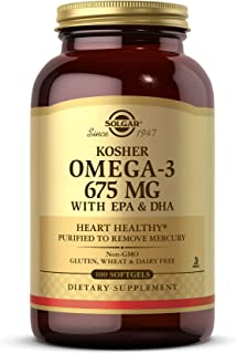 Solgar Kosher Omega-3 675 mg, 100 Softgels - Cardiovascular, Joint & Cellular Health - Concentrated Omega-3 Fatty Acids EP...