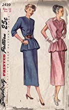 Simplicity 2439 Vintage 1940's Peplum Dress Suit Sewing Pattern, Check Listings for Size