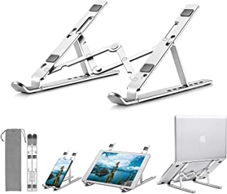Laptop Stand, Portable & Foldable Riser Computer Stand, Ergonomic Adjustable Ventilated Cooling Laptop Cradle(7 Levels), Aluminum Notebook Holder Compatible All 10-15.6inch Laptops & Tablets