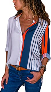 Women Button Down V Neck Color Block Stripes Casual Cuffed Long Sleeve Chiffion Blouse Tops