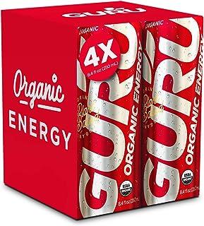 GURU Organic Natural Energy Drink with Green Tea & Guarana, 8.4 Ounce (Pack of 4), Gluten Free, Vegan