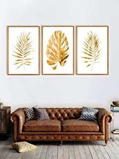 999Store Fiber wall painting with frames framed nature scenery for 3 piece canvas set of golden leaves (Set Canvas 30X54 I...